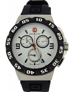 Swiss Military Racer Chronograph Rotating Bezel Black Rubber Gents Watch 06-4R2W