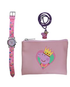Peppa Pig Girl's Quartz Watch with Pink Dial Analogue Display and Pink Silicone Strap Plus Necklace and Purse PP013