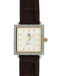 Royal London Ladies Textured Dial Stone Set Brown Leather Strap Watch 21011-03