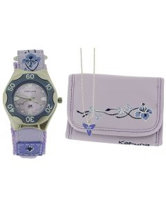 Kahuna Girls Analogue Purple Flower Easy Fasten Watch & Matching Purse Gift Set