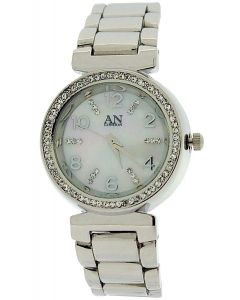 AN london Ladies Crystal Bezel Mother Of Pearl Dial Silver Tone MetalDress Watch