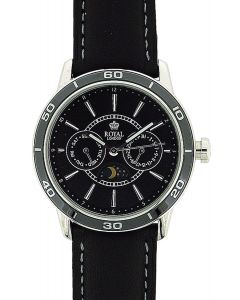 Royal London Gents Date 24 Hour Sun & Moon Phase Leather Strap Watch 41124-03