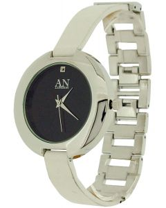 AN london Ladies Black Dial White PU & Silver Tone Metal Dress Strap Watch 4321
