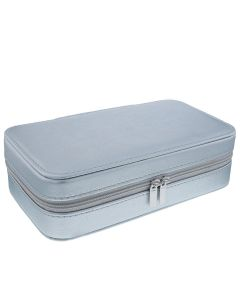 Mele - Lynne Silver PU Jewellery Box With Mirror & Compartments 5218