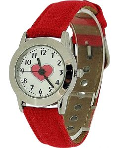 Limit Girls Analogue Silver Dial With Heart Motiff Red Fabric Strap Watch 6454