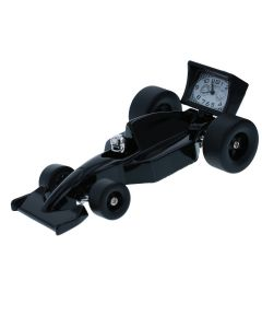 WM Widdop Miniature Black Racing Car Collectors Novelty Desktop Clock 9614