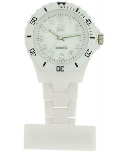 AN London Rubberised White Rotating Bezel Unisex Nurses Fob Watch ANFB01