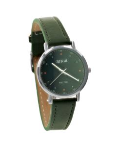 Anaii Pink Nectar Ladies Analogue Black Dial & Olive Green PU Strap Watch AP814