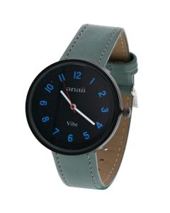 Anaii Pink Vibe Ladies Analogue Black Dial & Dusky Blue PU Strap Watch AP829