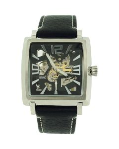 Arbutus Gents Skeleton Automatic Square Dial Black Leather Strap Watch AR514
