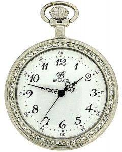"Belacci Silver Tone Stone Set Bezel, White Dial Pocket Watch & 12"" Chain BEL01"