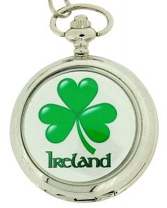 Boxx Gents Clover Shamrock Ireland Irish Pocket Watch With 12 Inch Chain Boxx137