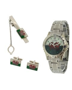 Boxx Wales Welsh Flag CYMRU Metal Bracelet Watch Cufflinks Mens Gift Set