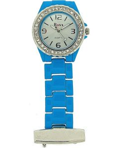 Boxx Ladies Aqua Blue Enamel Stone Set Bezel Nurses/Beautician Fob Watch BOXX236