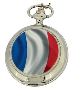 Boxx French Flag White Dial Gents Pocket Watch 12 Inch Chain Boxx308