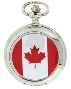 "Boxx Canadian Maple Leaf Flag White Dial Gents Pocket Watch 12""  Chain Boxx310"