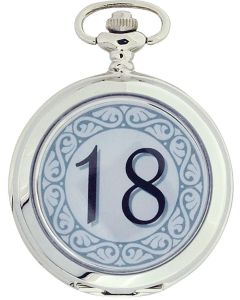 "Boxx ""Happy 18th Birthday"" White Dial Gents Pocket Watch 12 Inch Chain Boxx311"
