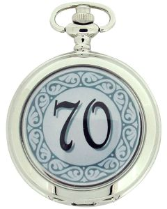 "Boxx ""Happy 70th Birthday"" White Dial Gents Pocket Watch 12 Inch Chain Boxx317"