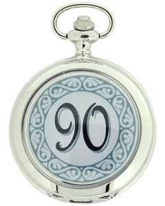 "Boxx ""Happy 90th Birthday"" White Dial Gents Pocket Watch 12 Inch Chain Boxx319"
