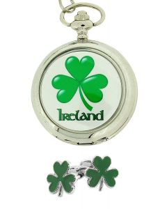 Boxx Gents Clover Shamrock Ireland Irish Pocket Watch + Cufflinks Xmas Gift Set