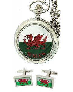 "Boxx Gents Cymru Welsh Wales Pocket Watch On 12"" Chain + Cufflinks Xmas Gift Set"