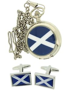 Boxx Scotland Scottish Pocket Watch on a 12 Inch Chain + Cufflinks Xmas Gift Set