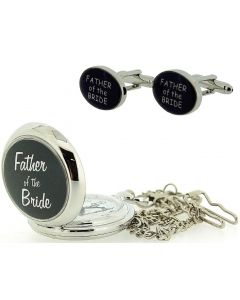 "Boxx Father Of the Bride Pocket Watch With 12"" Chain + Cufflinks Xmas Gift Set"