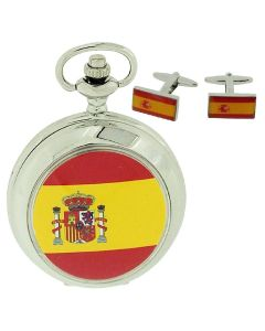 "Boxx Spanish Flag Pocket Watch With 12"" Chain + Cufflinks Ideal Xmas Gift Set"