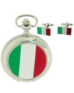 "Boxx Italian Flag Pocket Watch With 12"" Chain + Cufflinks Ideal Xmas Gift Set"