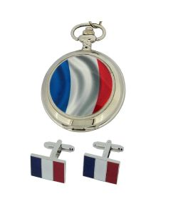 "Boxx French Flag Pocket Watch With 12"" Chain + Cufflinks Ideal Xmas Gift Set"