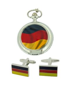 "Boxx German Flag Pocket Watch With 12"" Chain + Cufflinks Ideal Xmas Gift Set"