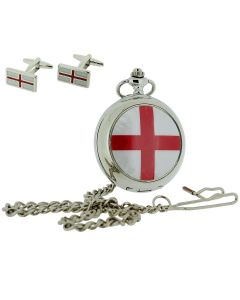 "Boxx St Georges Cross Pocket Watch With 12"" Chain + Cufflinks Xmas Gift Set"