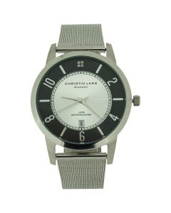 Christin Lars Diamond Gents Date Black & Silver Dial Stainless Steel Mesh Watch