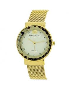 Christin Lars Diamond Ladies Faceted Bezel Goldtone Stainless Steel Mesh Watch