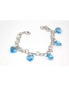925 Silver Heart Link Bracelet with Blue Heart Crystals