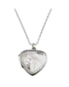 "The Olivia Collection Sterling Silver 22mm Engraved Heart Locket on18"" Chain"