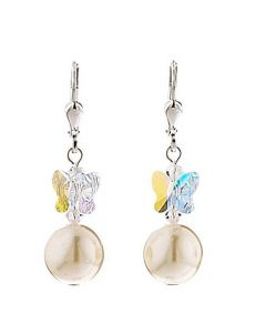 Kleshna Cream Pearl Butterfly Earrings