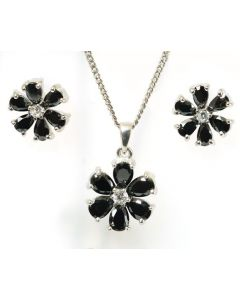 925 Silver Black & CZ Flower Pendant & Earring Set
