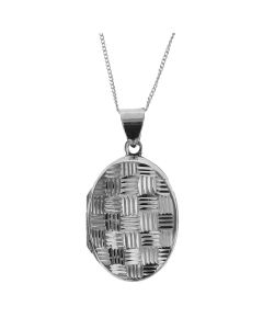 "The Olivia Collection Sterling Silver 25mm Cross-Hatched  Design Oval Locket on 18"" Chain"