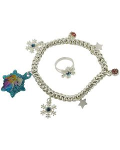 Disney Frozen Girls Silvertone Multi Charm Bracelet & Ring Gift Set FJ1582