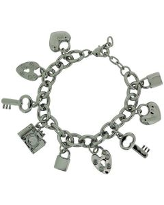 "ADORN Silvertone 9 Hanging Charms Chunky Bracelet 7""+1"" Extender"