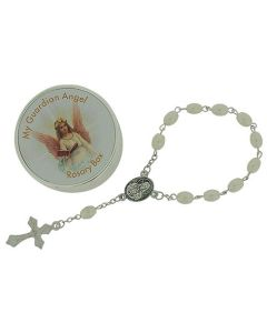 "Juliana Girls 'My Guardian Angel' Simulated Pearl Rosary Bracelet 6"" CG1078"