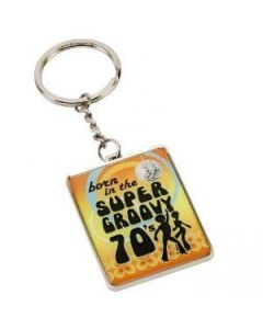 "Celebrations ""Born In The Super Groovy 70's"" Keyring In Presentation Box SP446"