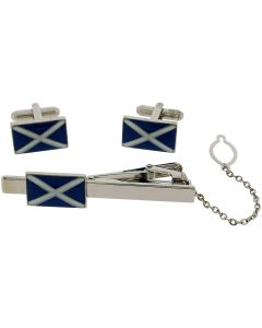BOXX Gents Silvertone Metal Scottish Tie Slide & Cufflink Gift Set
