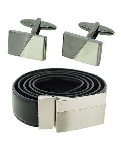 Harvey Makin Gents Silvertone & Gunmetal Brushed Cufflink & Black Belt Gift Set  HM483a