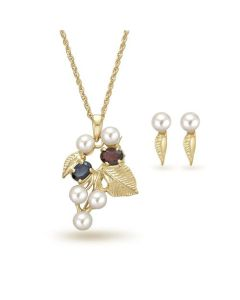 TOC Genuine Sapphire, Garnet & Cultured Pearl Pendant Earrings & Brooch Gift Set