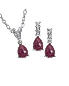 Genuine Ruby & Rhinestone Silvertone Pendant & Earrings - The Olivia Collection