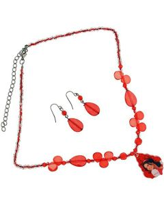 "High School Musical Red Faceted Bead 18"" Adjustable Necklace & Earrings"