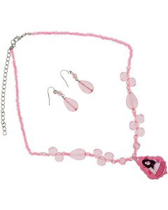 "High School Musical GABRIELLA Pink Bead 18"" Adjustable Necklace & Earrings"
