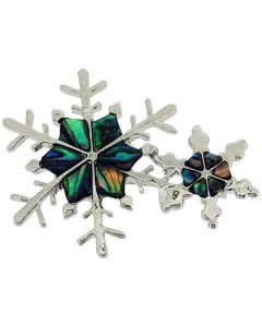 TOC Silvertone Paua Shell Set Double Snowflake Brooch